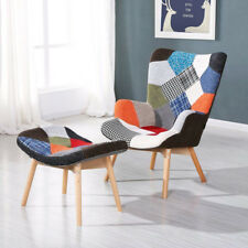 Retro Design Patchwork Armchair Wing High Back Multicolor Chair With Foot Stool