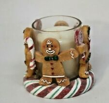 YANKEE CANDLE Gingerbread Men Votive Candle holder with White Xmas Candle + FREE