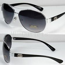 DG Eyewear Aviator Fashion Designer Sunglasses Mens Women Retro (Black-Silver)