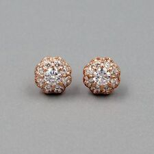 925 Sterling Silver Stud Earrings Micro Pave Bezel Cubic Zirconia 1392 ROSE GOLD