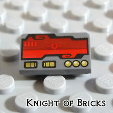 Lego MINIFIGURE DARK GRAY 1x2 Slope Red Computer Horizon Screen Gold Switches