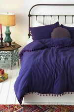Urban Outfitters Magical Thinking Pom Fringe Purple Duvet Full Queen NEW 86 x 86