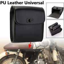 Motorcycle Synthetic PU Leather Front Handlebar Tool Bag Black Universal 1PCS