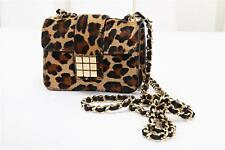 DSQUARED2 Leopard Print Pony Hair Cocktail Evening Bag Handbag Purse NEW