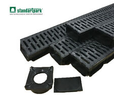 Standartpark - Trench Drain - 4 inch - 5 PACK with 1 adapter and 1 end cap!