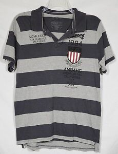 AMERICAN RAG Mens Gray Striped Polo Shirt Large Short Sleeves Striped Patch