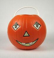 Halloween Pumpkin Pail Candy Bucket Plastic Jack Lantern Vintage USA Paper Eyes