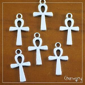 Egyptian Ankh charms ~PACK of 6~ Tibetan silver ancient Egypt key of life bead