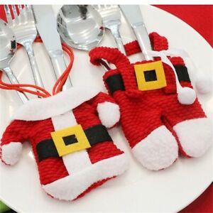 Christmas Cutlery Holder Bag Decor Santa Table Xmas Pocket Tableware Dinner