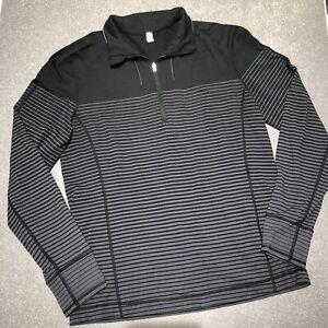 Lululemon Black & Gray Stripe Quarter 1/4 Zip Long Sleeve Pullover Women's Large