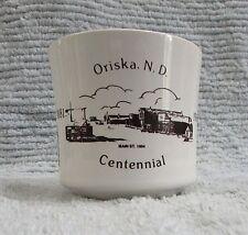 "1881-1981 Oriska ND Centennial Mug 3"" Vintage North Dakota Pottery Cup FREE S/H"