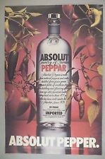 "Absolut Vodka - Absolut Pepper PRINT AD - 1987 ~~ Large 10.5"" x 16"", peppar"