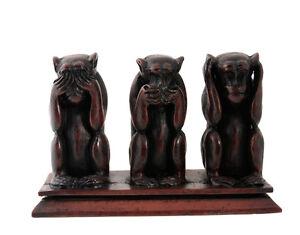3 Scimmie Da La Saggezza IN di Resina 1 KG Fatto Mano H13cm Bordeaux W4 3132