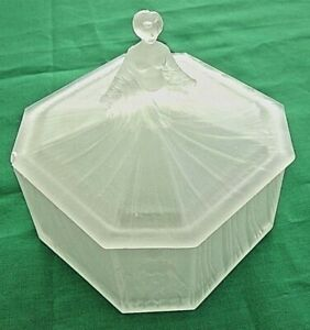 Vntg Vanity Powder Box Ramses France Sculpted Nude Figures 1920s 30s Satin Glass