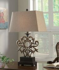 """Old World Tuscan Addison Table Lamp French Regent Scroll Cast Iron 28""""H"""