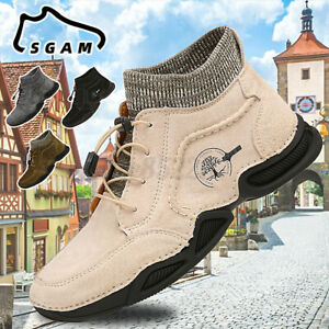 Men Leather Casual Shoes Soft Sock Ankle Boots Flat Driving Sneakers Large Size
