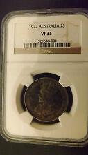 FLORIN 1922 NGC SLABED HIGH VF RARE DATE