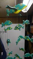 Indonesian / Balinese Handcrafted Wooden Flying Green Jumping Frog Mobile