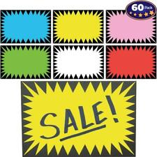 Retail Genius Price Burst 60 Sign Pack. Boost Sales with Bright Display Tags. Du