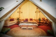 7M Canvas Bell Tent Waterpoof Camping Glamping Tent Family Yurt Tipi Stove Jack