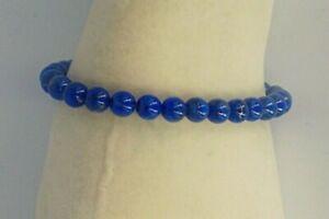 Genuine Denim-Lapis Stone Bead Stretch-Elastic Bracelet
