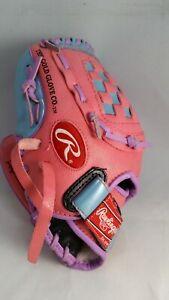Rawlings LH Thrower Pink PL100P Basket Web Softball / Baseball Mitt (Used) (E)