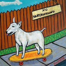 bull terrier dog art tile coaster gift skate boarding