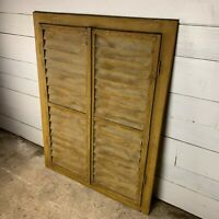 19th C Louvered Pine Shutters with Distressed Paint