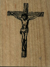 """mounted  rubber stamps   Jesus Hanging on Cross  wood mount  sm 1 3/4"""" X 2 1/4"""""""