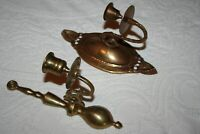 Brass  gold-tone wall sconce candle holders, lot of 2