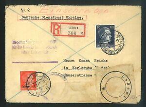M/ 1943 Ukraine; Deutsche Dienstpost; Germany Occupation; Registered Letter;