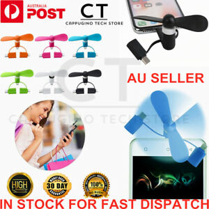 3 In 1 Portable Cell Phone USB Mini Fan For iPhone Android TypeC Mobile Model oz