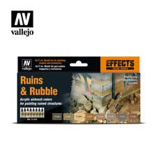 VALLEJO 71214 RUINS AND RUBBLE EFFECTS COLORS 8 Model Air Paint Set FREE SHIP