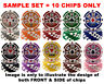 ROYAL FLUSH 14g NUMBERED POKER CHIPS SAMPLE SET 1 2 5 25 50 100 500 1000 5K 25K