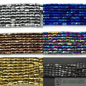 100Pcs Natural Magnetic Hematite Gemstone Faceted Tube Beads 5x8mm Metallic Pick