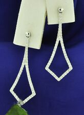 14k Solid White gold Natural Diamond dangling earring Stylish 1.00 ct