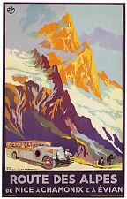 ROUTE DES ALPES Nice Chamonix EvianVintage Art Déco Affiche De Voyage