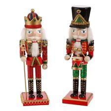"RAZ Imports 10"" Nutcrackers Set/2 Red Green Black Christmas New"