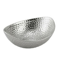 Silver Hammered Effect Decorative Candle Plate Fruit Bowl Home Deco Ornament