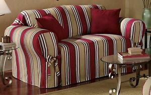 Red/Khaki Stripe All Cotton Sofa/Couch/Loveseat/Arm Chair Slipcover