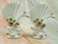 Vintage Porcelain Swan Vases with Scalloped Top - Made in Japan - Set of 2