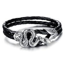 Mens Snake Genuine Leather Braided Wristband Bracelet Stainless Steel Surfer