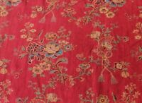 FRENCH VINTAGE COTTON FABRIC INDIENNE FABRIC Per Yard DEEP RED /& BLUE