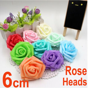 6cm Artificial Foam Roses Flowers Without Stem Wedding Bride Bouquet Party Deco