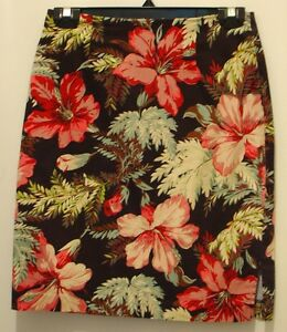 USA Womens 8 Annie Alexander tropical floral unlined skirt cotton spandex XC
