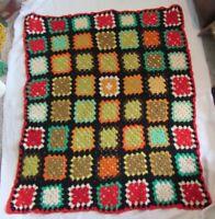 Granny Squares Crochet Lap Throw Blanket Fall & Christmas colors w Black 52 x 60