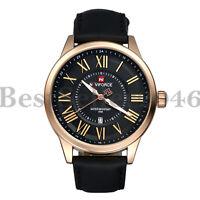 Men's Black Genuine Leather Band Roman Numerals Sport Date Analog Wrist Watch