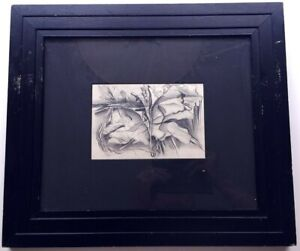 Emil Kosa Jr Abstract Pencil Drawing 1930s Matted Framed Estate Stamped