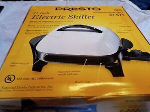 Presto 06620 11-Inch Electric Skillet Black White Color