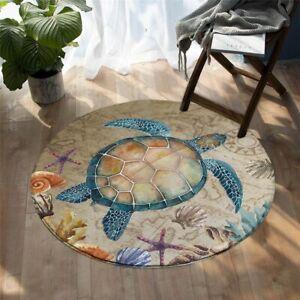 Brown Animal Sea Turtle Starfish Ocean Round Rug Carpet Mat Living Room Bedroom